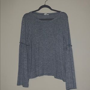 GAP Heathered Gray Bell Sleeve Top